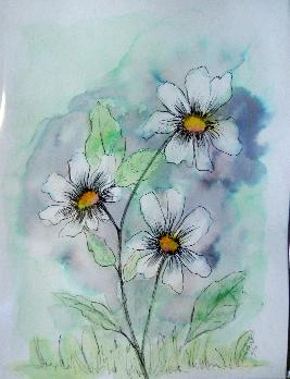 white daisies acrylics and watercolors on 9x12-inch watercolor paper
